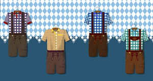 Greeting card from Munich. Traditional German Bavarian clothing: Lederhosen. Octoberfest. Greeting card from Munich. Collection of dresses Royalty Free Stock Image