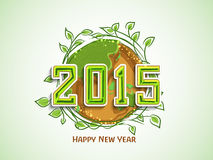 Greeting card with nature concept for New Year 2015 celebration. Happy New Year 2015 celebration with earth covered by green leafs for save nature concept Stock Photo