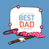 Greeting card with necktie and watch for Fathers Day. Stock Photography