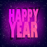 Greeting card with neon text new year and snow on violet background.  royalty free illustration