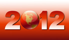 Greeting card with new 2012. With globe image on red background vector illustration