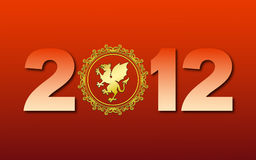 Greeting card with new 2012. With gold dragon on red background royalty free illustration