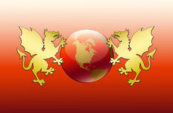 Greeting card with new 2012. With two gold dragons holding globe on red background royalty free illustration