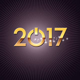 2017 Greeting card for a new start. New year 2017 starting with a power button on a shiny black background Royalty Free Stock Photo