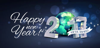 2017 Greeting card for a new world. Greetings and 2017 New Year type composed with a green planet earth, on a glittering black background - 3D illustration Royalty Free Stock Photo