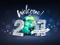 2017 Greeting card for a new world. Greetings and 2017 New Year type composed with a green planet earth, on a glittering black background - 3D illustration Stock Photo