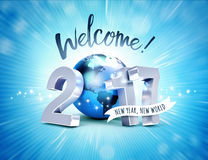 2017 Greeting card for a new world. Greeting and 2017 New Year type composed with a blue planet earth, on a shiny blue background - 3D illustration Stock Image
