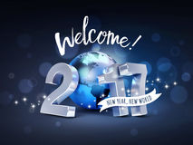 2017 Greeting card for a new world. Greeting and 2017 New Year type composed with a blue planet earth, on a sparkling black background - 3D illustration Stock Photo