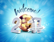 2017 Greeting card for a new world. Greeting and 2017 New Year type composed with a golden planet earth, on a shiny blue background - 3D illustration Royalty Free Stock Images