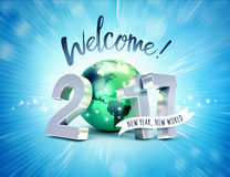 2017 Greeting card for a new world. Greeting and 2017 New Year type composed with a green planet earth, on a shiny blue background - 3D illustration Stock Photos