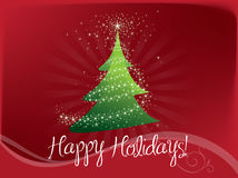 Greeting card  for New Year. Christmas tree with Happy New Year greetings Stock Images