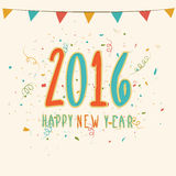Greeting card for New Year 2016 celebration. Colorful flags decorated greeting card with stylish text 2016 for Happy New Year celebration Stock Photos