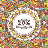 Greeting card for New Year 2016 celebration. Colorful floral design decorated beautiful greeting card with Christmas ornaments for Happy New Year 2016 Stock Photos