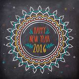 Greeting card for New Year 2016 celebration. Creative floral design decorated greeting card in chalkboard style for Happy New Year 2016 celebration Royalty Free Stock Photography