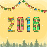 Greeting card for New Year 2016 celebration. Greeting card design with colorful floral decorated text 2016 for Happy New Year celebration Stock Photography