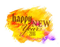 Greeting card for New Year 2016 celebration. Greeting card design with colorful splash for Happy New Year 2016 celebration Royalty Free Stock Image