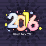 Greeting card for New Year 2016 celebration. Greeting card design with colorful text 2016 on stylish background for Happy New Year celebration Stock Images
