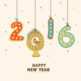 Greeting card for New Year 2016 celebration. Happy New Year celebration greeting card design with colorful text 2016, bird and Jingle Bells hanging on stars Royalty Free Stock Photos