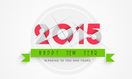 Greeting card for New Year celebration. Happy New Year celebration greeting card with stylish text of year 2015 and other message on grey background Stock Images