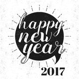 Greeting Card for New Year 2017 celebration. Stylish text Happy New Year 2017 on grungy background, Vector greeting card design Stock Photography