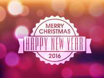Greeting card for New Year and Christmas celebration. Shiny colorful greeting card design for Merry Christmas and Happy New Year 2016 celebration Royalty Free Stock Photography