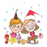 Greeting card, new year and christmas stock illustration