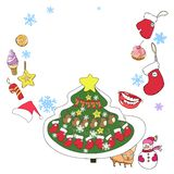 Greeting card, new year and christmas vector illustration