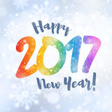 2017 Greeting card. New year 2017 colorful date and greetings in snowfall Royalty Free Stock Images