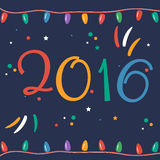 Greeting card for New 2016 Year in flat design. Vector vector illustration