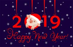 Greeting card for 2019 New Year with funny little pig in santa hat, hanging paper cutting red numbers and cut out snowflakes. Flat. Greeting applique card for royalty free illustration