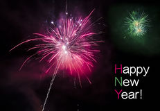 Greeting card for the New Year. Happy new year with fireworks stock photos