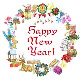 Greeting card with New Year holiday objects and lettering stock illustration