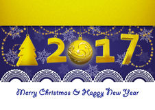 Greeting Card on New Year 2017 and Merry Christmas on blue background. New Year and Merry Christmas Greetings Card Royalty Free Stock Photography