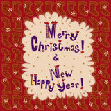 Greeting card New Year and Merry Christmas. Card for Christmas and New Year. Red background with Christmas socks and snowflakes. Cartoon purple text on a light royalty free illustration