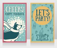 Greeting card for new year party with cute smiling husky. Vector illustration Stock Photo