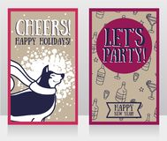 Greeting card for new year party with cute smiling husky. Vector illustration Royalty Free Stock Images