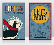 Greeting card for new year party with cute smiling husky. Vector illustration royalty free illustration
