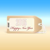 Greeting card with new year 2015 on the price tag. Stock Image