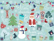 Greeting card with New Year`s characters and patterns. Christmas background,  illustration Stock Photos