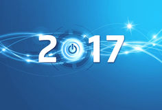 2017 Greeting card. 2016 New Year type with a power button on a shiny blue background Royalty Free Stock Photography