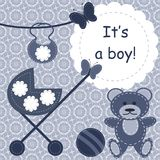greeting card for newborn boy Stock Photo