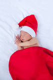 Greeting card with newborn santa Stock Photos