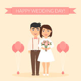 Greeting card for newlyweds. Festive vector illustration. Cute beautiful couple. Happy wedding day.  Royalty Free Stock Image