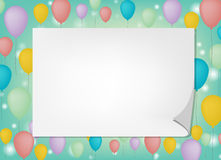Greeting card note white note on ballon background Royalty Free Stock Images