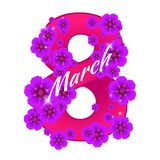 Greeting card with number eight consisting of flowers to 8 March holiday - International Women`s Day. Vector illustration. Can be used for badges, posters or Royalty Free Stock Images