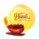 Greeting Card with Oil Lamp for Happy Diwali. Royalty Free Stock Image