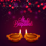 Greeting Card with Oil Lamp for Happy Diwali. Stock Photos