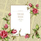 Greeting card in old newspaper. Greeting card vintage design. Ornate frame decoration with retro pattern. Festive vector illustration with roses for Happy Royalty Free Stock Photography