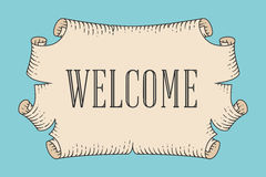 Greeting card with old vintage ancient scroll and word Welcome Royalty Free Stock Photos