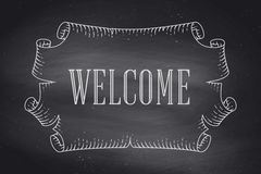 Greeting card with old vintage ancient scroll and word Welcome Stock Photography